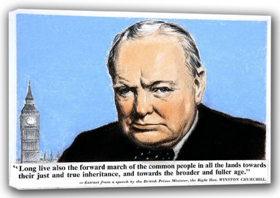 Prime Minister Winston Churchill Speech Extract. Quote on Canvas. Sizes:  A3/A2/A1. (00914)